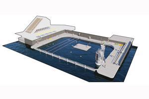 Trädäck och flytbrygga omgärdar hamnbadet som planeras vid piren i Norrtälje hamn. Om det blir flytbrygga och hopptorn, återstår att se. Illustration: Sydväst arkitektur & landskap