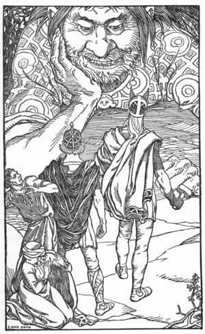 Gudarna Loke och Tor möter jätten Skrrymir. Illlustration av Elmer Boyd Smith