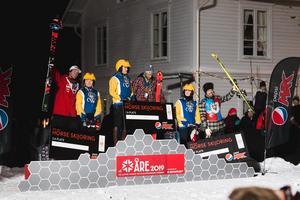 Pristagarna i tävlingen. Henrik Windstedt överst på pallen, Anton Axellie tvåa och Sverre Liliequist trea. Foto: Felix Moström
