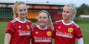 Elin Busk, Nova Råstedt och Natalie Odén, målskyttar för Sveg i mötet med Häggenås.