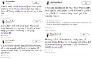 Ett urval av tweets från Alexanders Bards konto. Källa: Twitter.