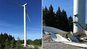 En vinge bröts av från vindkraftverket och föll 55 meter ner på marken. Foto: Elisia Eskola