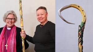 Foto: Lena NilssonBiskop Eva Nordung Byström och hantverkaren Birgitta Ricklund som tillverkat den nya biskopsstaven