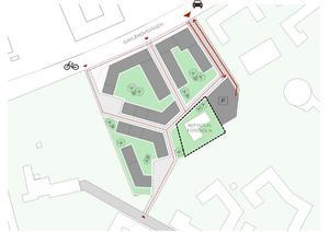 Skiss över tänkbar placering av byggnader på fastigheten. Illustration: Fastpartner.