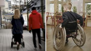 Att dra in på assistans för funktionshindrade barn och i stället lova en föräldravecka saknar motstycke, tycker skribenten. Bilder: Hasse Holmberg/TT / Erik Svensson/TT