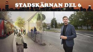 """Förslaget om 600 nya bostäder längs Nyköpingsvägen är från 2010 men utreds på nytt. """"Det är många frågor att hantera men det är kul att vi kommit en bit på väg"""", säger huvudprojektledare Johan Filipsson. Till vänster en visualisering av hur stationspaviljongen kan komma att se ut."""