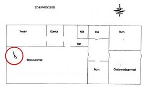 Bild från polisens förundersökning. En karta över klubblokalen där ett av vittnena markerade var Joe Niyomwat misshandlades (inringad).