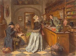 En tysk butik under 1700-talet. Målning av Anna Marie Wirth från kring år 1800.