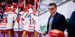 Modotränaren Björn Hellkvist kunde nöjt summera derbysegern mot Timrå i NHK Arena. Modo vann med 4–2 till slut. Bild: Pär Olert/Bildbyrån