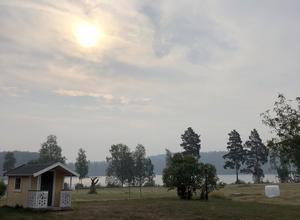 Disigt i Toftbyn, i Falu kommun. Många människor har larmat SOS Alarm om att de har känt röklukt i Falu kommun på torsdagsmorgonen men räddningstjänsten Dala Mitt gör bedömningen att röken kommer från de stora skogsbränderna i Älvdalen och Hälsingland.