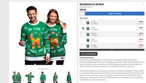 Jultröjan med den brinnande Gävlebocken. Bild: partykungen.se.