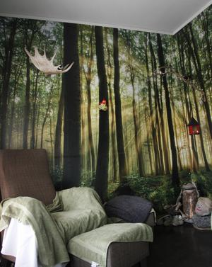 Skogsrummet är populärt bland brukarna. Här kan man sitta och filosofera, bläddra i en bok och hitta ett lugn.