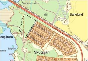Detaljplanen omfattar det svartstreckade området. Kartan är från Sala kommuns detaljplanearbete.