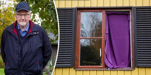 Bengt Andersson har tröttnat på att folk kastar sönder fönstret på hans sons hus.