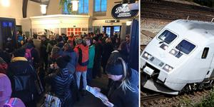 Hundratals personer har trängts på Sundsvalls centralstation under dagen. Bilder: Annelie Ledin och arkiv