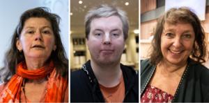 MP-debattörerna Maj Ardesjö, Aron Knifström och Kerstin Lundh.