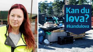I slutet av mars var Fornhöjdens återvinningsstation fylld med dumpade grovsopor, allt från varuvagnar till bildäck. Infällda bilden: Johanna Göransson på Telge återvinning.