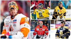De fem hetaste målvakterna i Skoda Trophy. Foto: Bildbyrån. Montage: Hockeypuls.