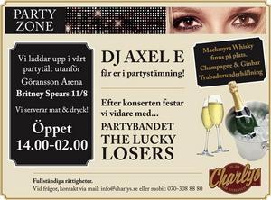 Charlys har partytält utanför arenan. Bild: facebook.com.