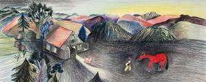 Illustration ur boken Farwest, som Peter Elliot har skrivit och Kitty Crowther illustrerat.