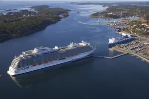 Över 40 kryssningsfartyg har besökt Nynäshamn i år. Foto: Stockholms Hamnar