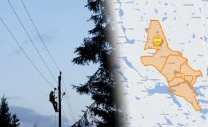 Kartbilden på Ellevios hemsida visade var avbrottet slog till. Bild: Ola Torkelsson/TT & Ellevio