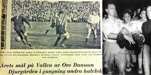 Ove Danssons 4–4-mål på Arosvallen är en klassiker. Hans lagkamrat, Jan Åhlin (lilla bilden), har gjort flest allsvenska mål (10) för VSK. Foto: VLT/arkiv