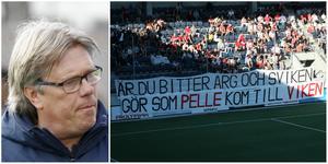 Pelle Olsson sågade de egna supportrarnas tifo innan derbystarten. FOTO: AMELIA MAURITZON