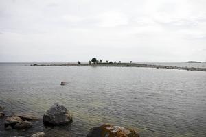 Skatrevet gör en krok som bildar en lagun. Där bortom finns bara hav.