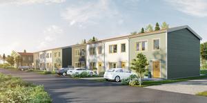 19 radhus ingår i FB bostads planer för Brokvarn. De ska bilda en bostadsrättsförening. Bild: FB bostad