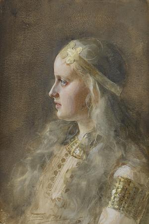 Den sköna jättinnan Gunnlöd. Målning av Anders Zorn från 1886.