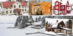 Ett montage med några av de hus som finns med på Klicktoppen för vecka 9, sett till de hus i Dalarna som fått flest klick på bostadssajten Hemnet under förra veckan. Fler bilder finns här nedanför.