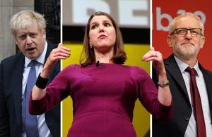 Britterna ska gå till valurnorna i december. I opinionsmätningarna har Boris Johnsons Tories och Jeremy Corbyns Labour motvind. Däremot går Liberaldemokraterna med Jo Swinson starkt. Foto: AP Photo