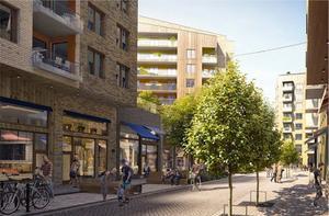 Kommunen och invånarna vill se ett småskaligt centrumstråk längs med Erikshällsgatan. Här en inspirationsbild från Bromma i Stockholm. Skiss: Södertälje kommun/Tomorrow AB