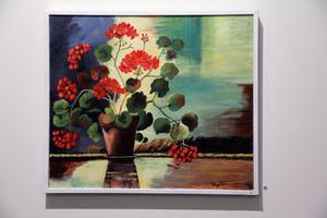 Röd pelargon - en olja målad av Tage Pettersson.
