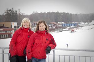 Marie Sandberg-Nilsson, Dalarnas Skidförbund, och Malin Jonsson, trafik- och fritidsförvaltningen, hoppas att det kommer många barn till Lugnet på lördag.