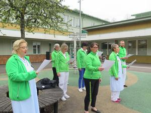 Vårdadministratörer, läkare och sjuksköterskor sjöng in våren på Norrahammars torg.