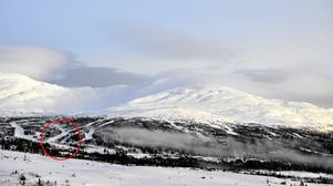 Nuvarande Ullådalsstugans placering markerad med röd ring.