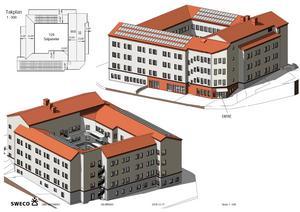 Januari/februari 2021 ska nya äldreboendet stå klart med 60 lägenheter på Seminariegatan. Illustration: Sweco