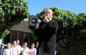 Sofia Eldebrink talade förra året på manifestationen. Arkivbild: Johan Järup