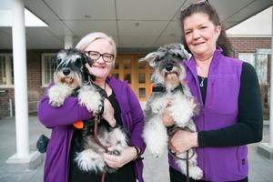 Gunilla Backman, vd för Svenska Pedagoghundsinstitutet, föreläste nyligen om terapihundar på Rosengården i Nynäshamn. Med var sjuksköterskan Eva Lydecker-Wenström och tjänstehundarna Nova och Hallon.