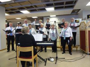 """New Old Singers i allsången """"Vi skall gå hand i hand"""". Fotograf Kjell Larsson"""