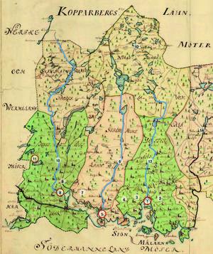 På den här landskapskartan över Västmanland från 1740 kan man se hur strategiskt biskopsgodsen är placerade i länet. Foto: Lantmäteriet, Gävle