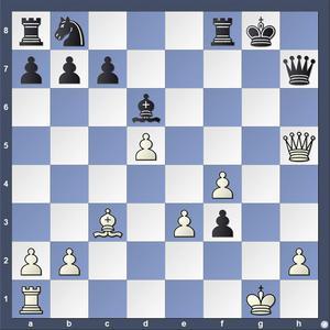 Lösning: 1.Dg4+ Kf7 2.De6 1.-,Dg7 2.Dxg7.
