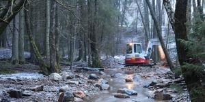 Arbetet i Kallforsån påbörjades strax före jul och fortsatte i januari. Det utfördes av Sportfiskarna på uppdrag av länsstyrelsen. Bild: Sportfiskarna
