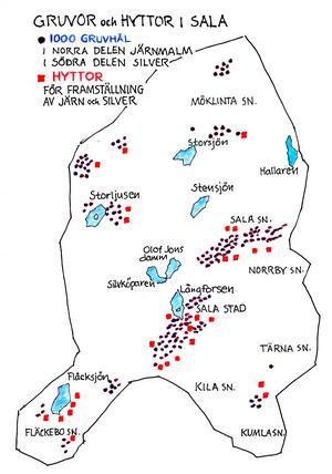 Salas arkeolog Richard Meurman har funnit cirka 1000 gruvhål och rester av många smälthyttor på olika platser i Salatrakten. Illustration: Bo Svärd