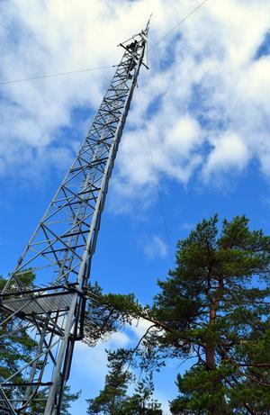 Från sin – tillfälliga – arbetsplats 32 meter över marken hade Urban Eriksson och Bengt-Arne Tomth en storslagen utsikt över stora delar av Gagnef.
