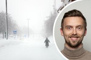 Meteorologen Lasse Rydqvist menar att snöfallet ser ut att ligga kvar länge över Medelpad. Bild: Jenny Toresson/Storm Geo