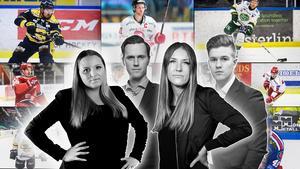 Jennifer Engström, Jacob Sjölin, Elin Bergvik Eriksson och Adam Johansson listar Hockeyallsvenskans 50 bästa spelare. I dag är det plats 40-31 som presenteras. Foto: Bildbyrån/Mittmedia.