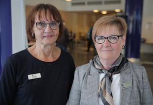 Torild Ibsen, anhörigkonsulent i Ludvika, och Karin Lindqvist, verksamhetsutvecklare vid Studieförbundet Vuxenskolan, välkomnade till den viktiga Funkismässan.